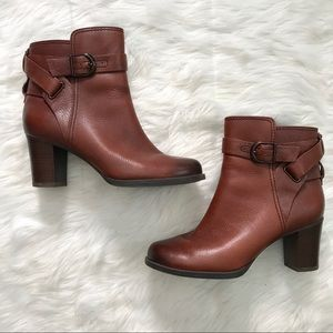 Clarks Brown Leather Strap Heel Booties Boots